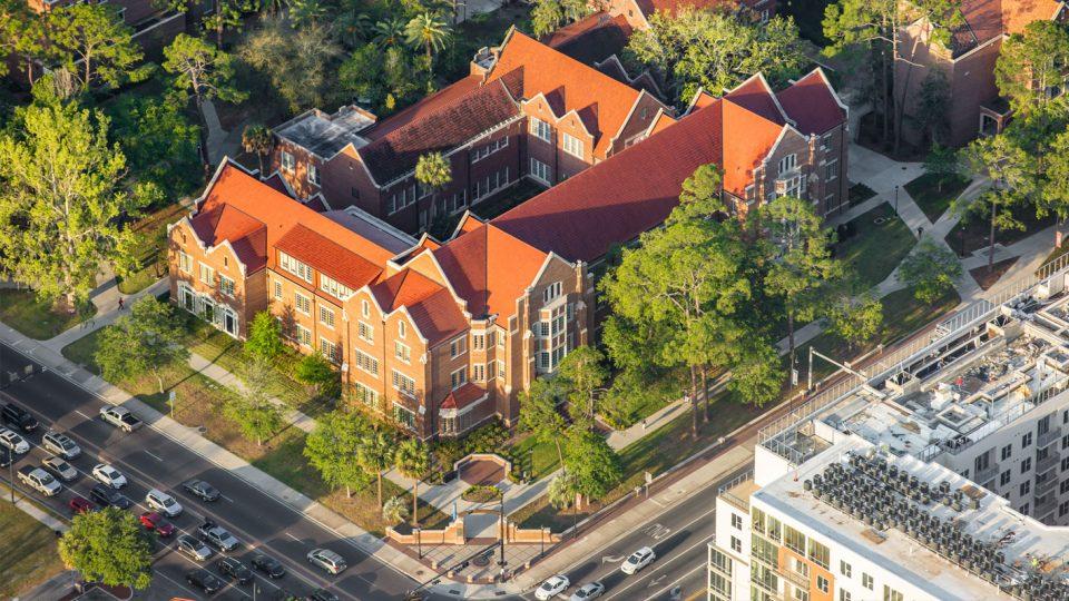 Heavener Hall aerial view