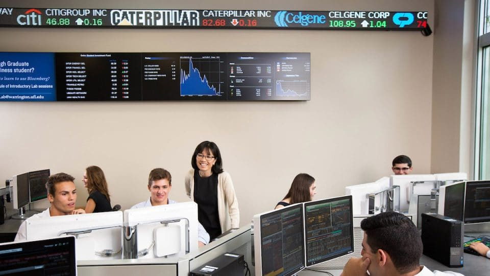 Capital Markets Lab with students at work and stock ticker and digital market displays