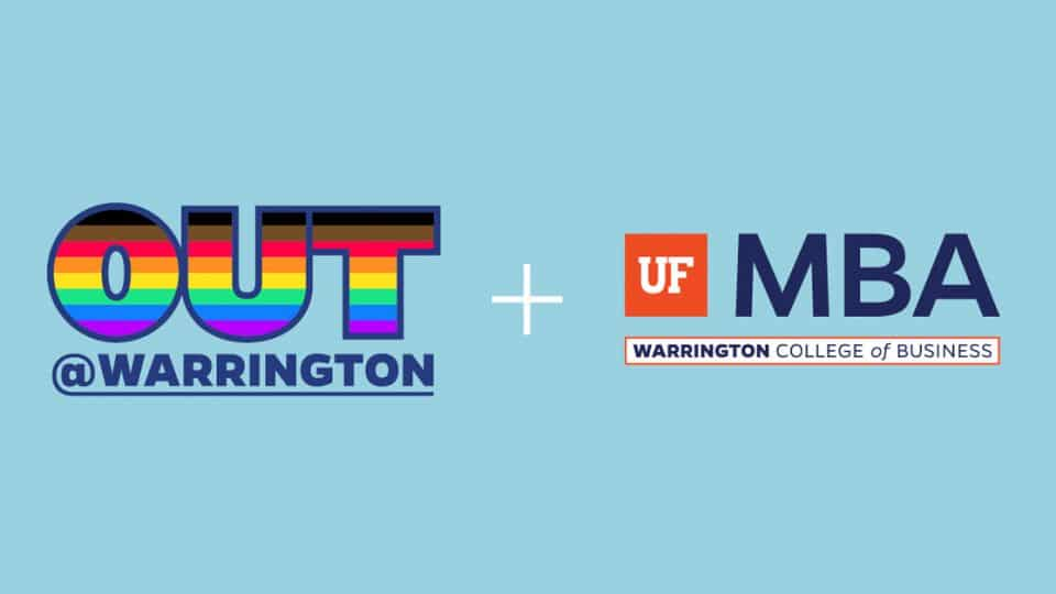 Out at Warrington logo, plus sign, UF MBA logo on a light blue background