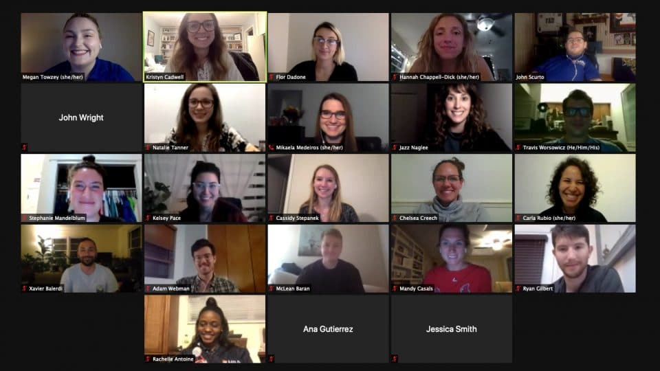 Student group zoom meeting with 23 individuals in attendance