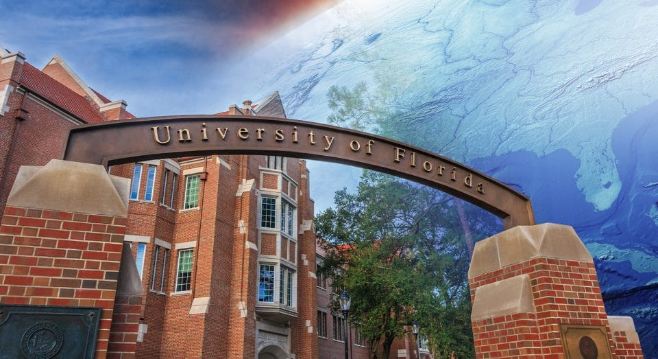 University of Florida gateway with Heavener Hall in the background
