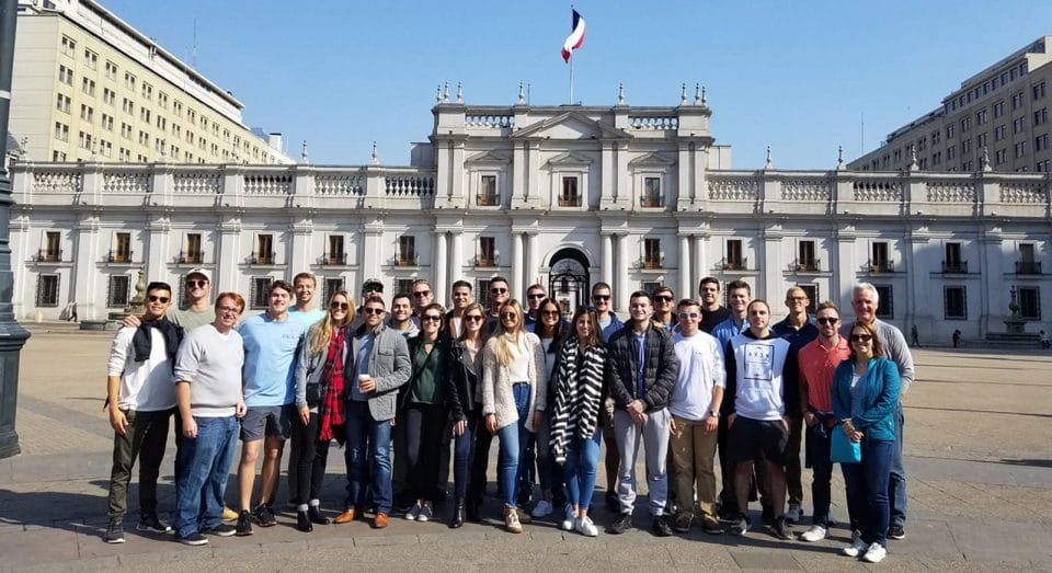 A group of MSRE students on a study abroad trip