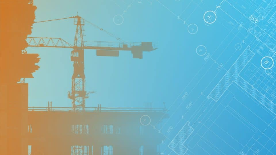 Background image featuring part of a construction crane and part of a blueprint