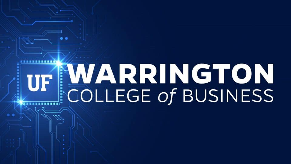 UF Warrington College of Business logo integrated with circuit board and processor graphics
