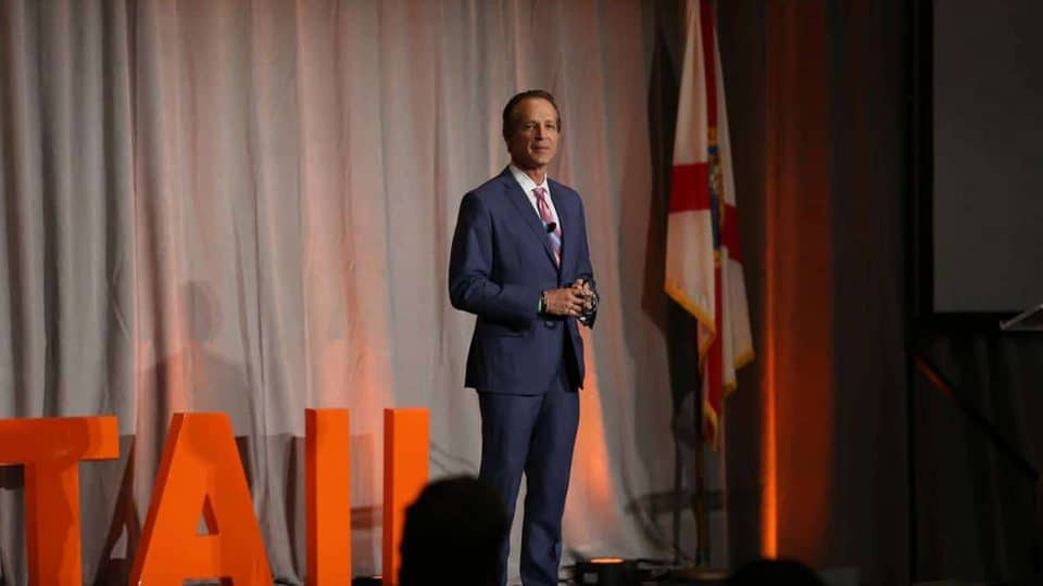 Steve Knopik, Fisher School and UF Beta Alpha Psi alumnus and Chairman & CEO of Bealls speaks at a TEDx event