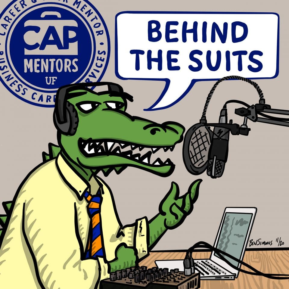 Behind the Suits podcast: drawing of a gator in business attire speaking into a microphone with the CAPs logo in the background