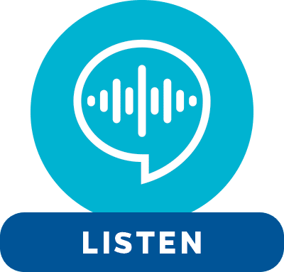 White speech bubble icon on a blue circle background. Text reads: Listen