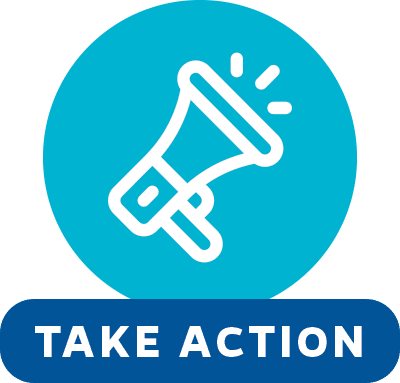 Megaphone icon on a blue circle background. Text reads: Take Action