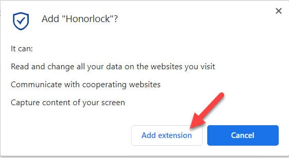 Screen capture of Add Honorlock dialog box with an arrow pointing to Add extension