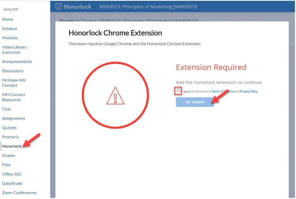 Screen capture of Honorlock Chrome Extension window with arrows pointing to Honorlock in the menu and Get Started button plus a highlighted checkbox to agree to the terms and policy