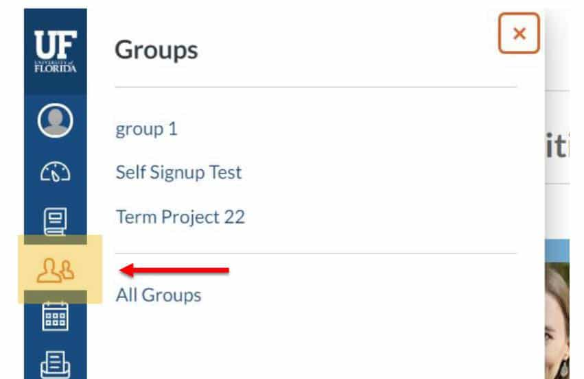 Screen capture with an arrow pointing toward the Groups Icon in the menu
