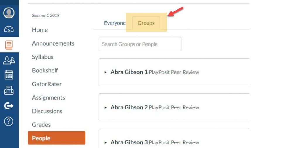 Screen capture in Canvas, People on the Groups tab
