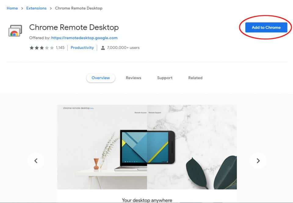 Screen capture of the Chrome Remote Desktop page with the Add to Chrome button circled