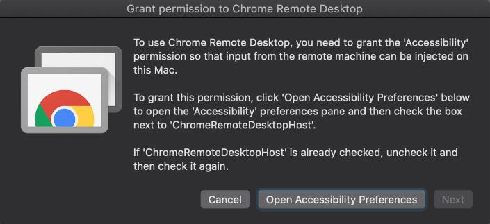 Screen capture of the Grant Permission to Chrome Remote Desktop dialog box
