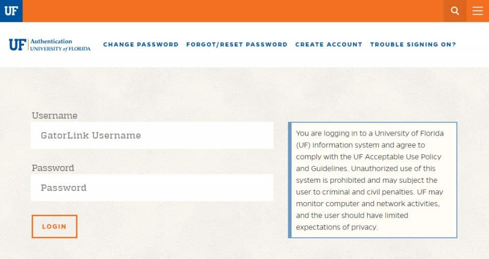 Screen capture of the UF GatorLink login username and password page