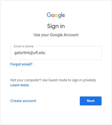 Screen pcature of the Google Sign In screen with a field for email or phone