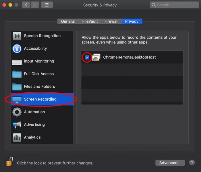 Screen capture of the System Preferences, Privacy tab with ChromeRemoteDesktopHost checked and Screen Recording selected