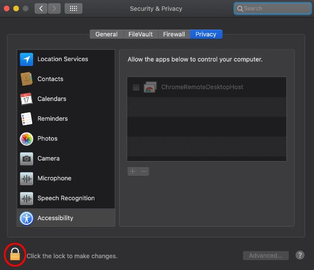 Screen capture of the System Preferences, Privacy tab with the unlock button circled