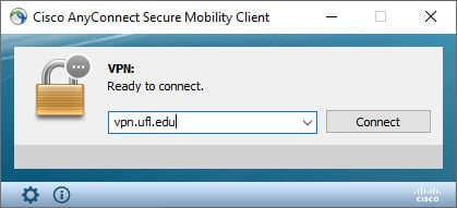Screen Capture of the Cisco AnyConnect dialog box indicating the VPN is ready to connect