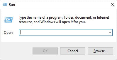 Screen capture of the Run dialog box where you can type the name of a program, folder, document, or Internet resource, and Windows will open it for you