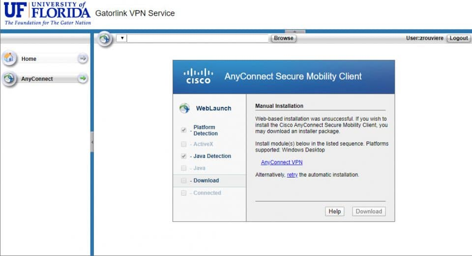 Screen capture of UF's GatorLink VPN Service page showing Cisco AnyConnect Secure Mobility Client