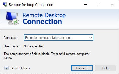 Screen capture of the Remote Desktop Connection dialog box