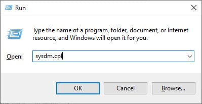 Screen capture of the Run dialog box with sysdm.cpl typed in the field