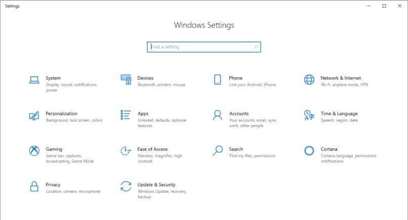 Screen capture of Windows Settings screen