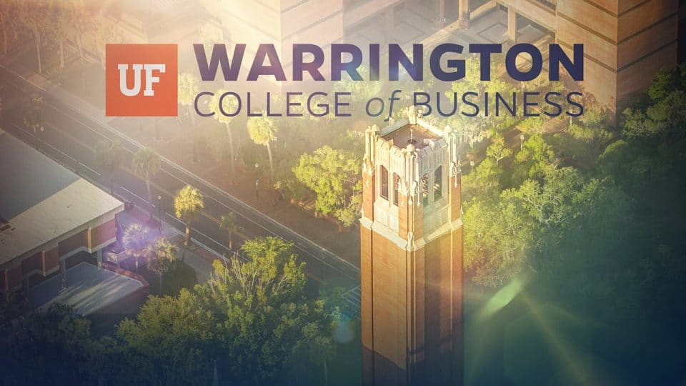 Aerial photo of the tower on campus with UF Warrington College of Business logo over the top