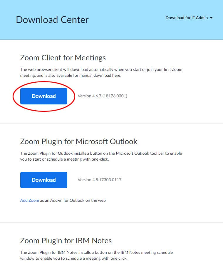 A screen capture of the Download Center with the Zoom Client for Meetings Download button circled