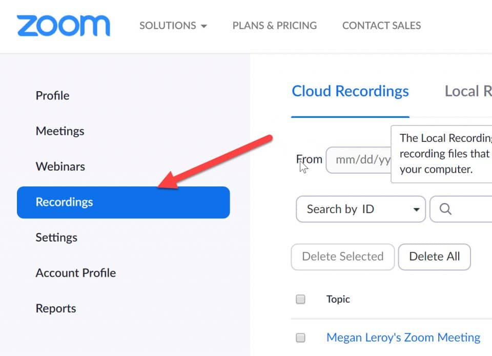 Screen capture of Zoom menu with an arrow pointing to Recordings