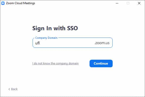 A screen capture showing Sign In with SSO and a text field and a Continue button