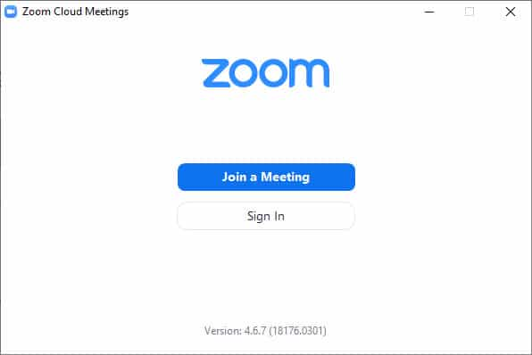 A screen capture showing a Zoom start screen with two buttons: Join a Meeting and Sign In