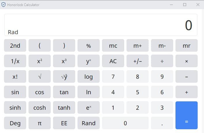 Screen capture of Honorlock's scientific calculator that can be used during exams