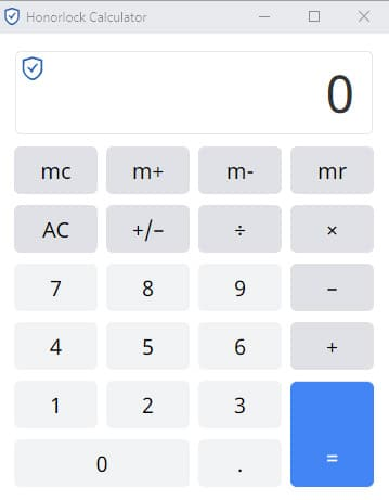 Screen capture of Honorlock's simple, four-function calculator that can be used during exams