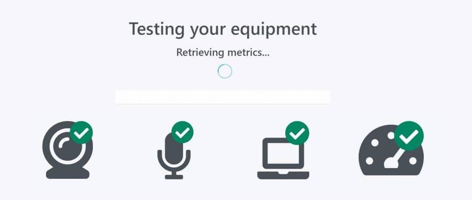 Screen capture of ProctorU's Testing Your Equipment screen