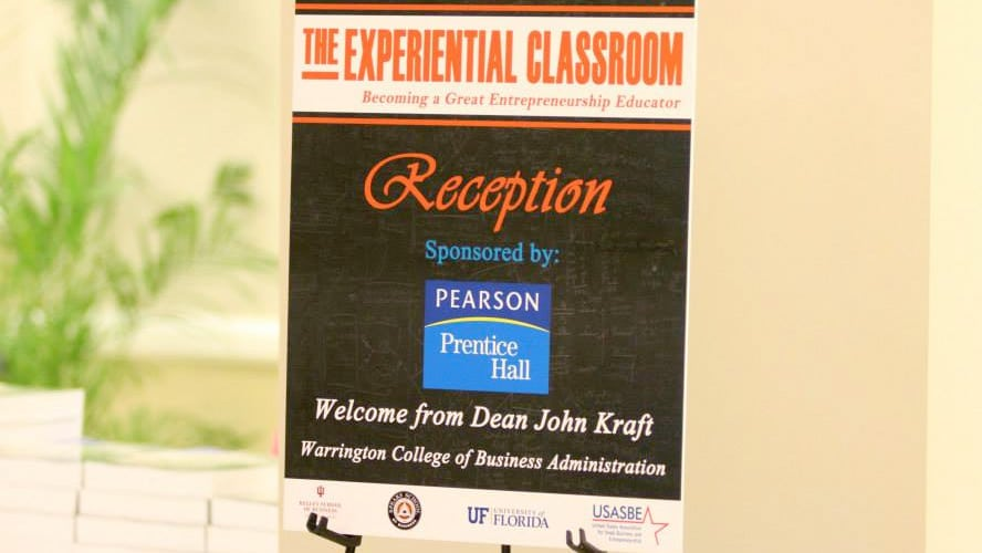 The Experiential Classroom sign for the 2014 reception