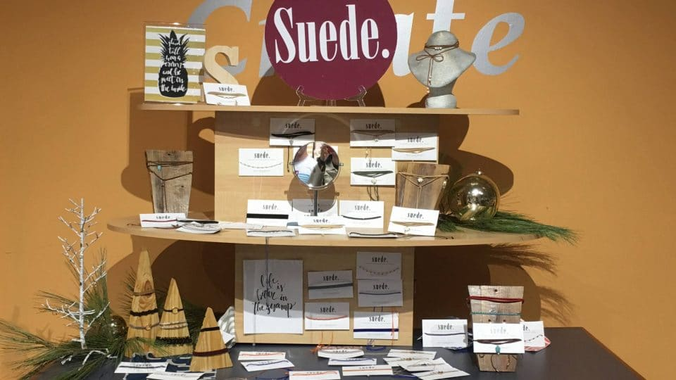 Suede products on display in the Retail Gator Hatchery