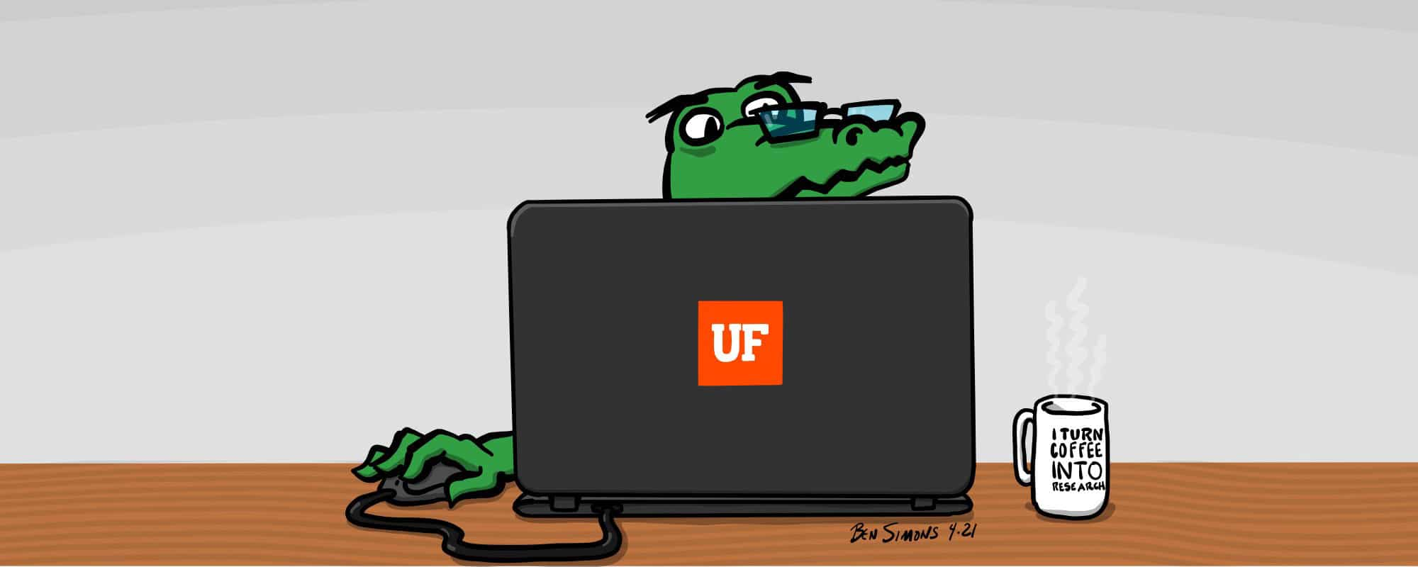 Illustration of a gator working on a laptop with a UF sticker on it, a coffee mug nearby says I turn coffee into research