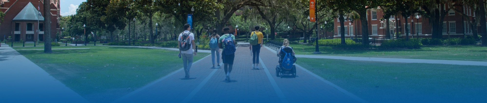 Five students traversing through the Plaza of the Americas, one student is in a motorized wheelchair