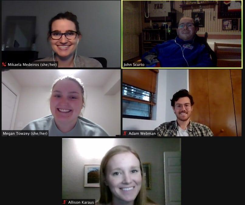 Screen capture of Winter Break Book Club meeting on Zoom