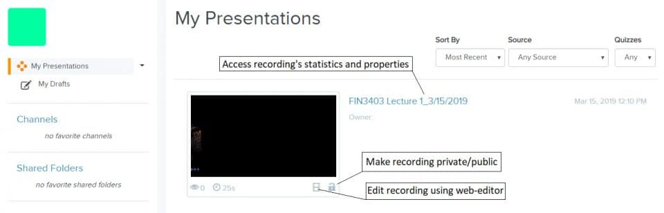 The My Presentations page indications: clicking on the presentation name will access the statistics and properties, clicking the film icon will provide editing capabilities, clicking the lock/unlock icon will make the recording private or public.