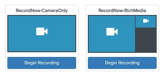 Two Begin Recording buttons: the one on the left is for camera only and the one on the right is for rich media