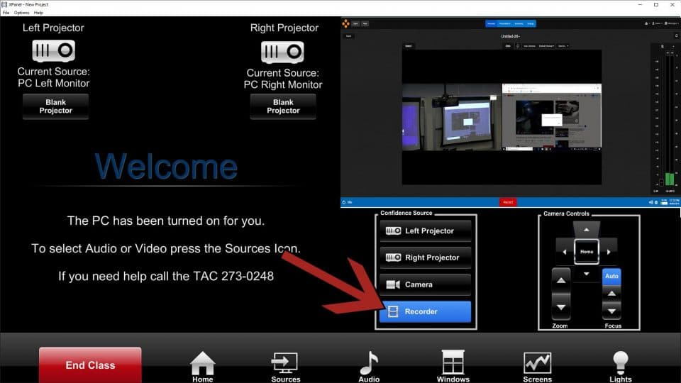 A screen capture of the touch panel interface with an arrow pointing to the Recorder button