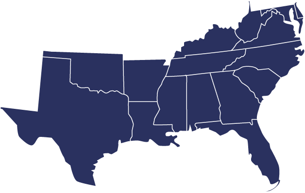 Alabama, Arkansas, Delaware, Florida, Georgia, Kentucky, Louisiana, Maryland, Mississippi, North Carolina, Oklahoma, South Carolina, Tennessee, Texas, Virginia, West Virginia