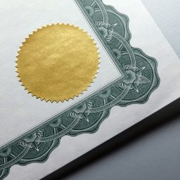 Gold seal on a certificate
