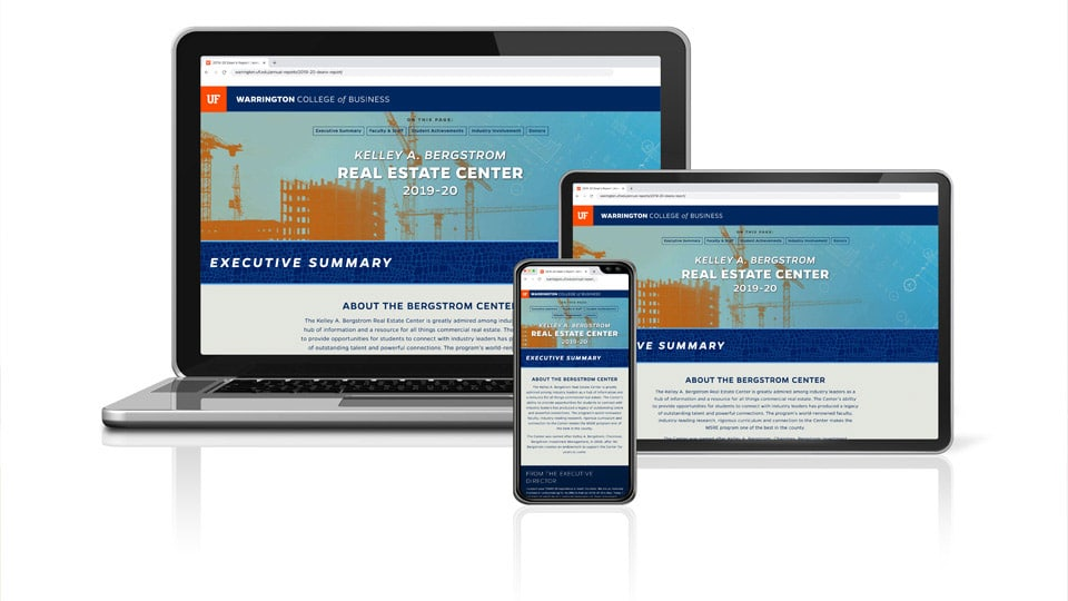 A laptop, tablet and phone displaying the Kelley A. Bergstrom Real Estate Center 2019-20 Annual Report website
