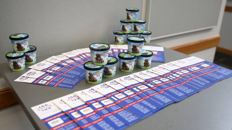 UF Business for Good Lab: Sustainable Business Consulting for B Corp certification flyers featuring Gator Grad entrepreneurs featured among the Gator 100 with Ben & Jerry's icecream cups (for double B Corp goodness)