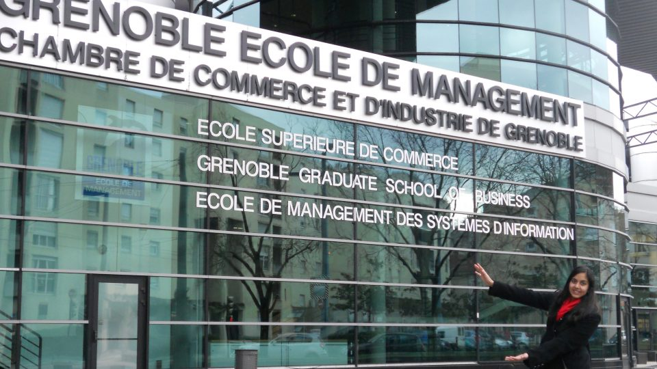 Grenoble Ecole de Management entrance with student Gator chomping