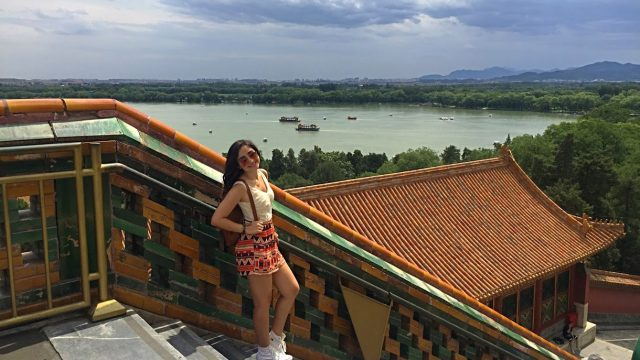 Student poses at the Summer Palace
